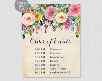 Printable Order of Events Sign - Floral Wedding Order of Events Sign - Colorful Flower Wedding Reception Sign, Order of Service Sign 0003-A