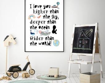 Children's I love you higher than the sky, deeper than the ocean and wider than the world nursery / bedroom Scandi Print