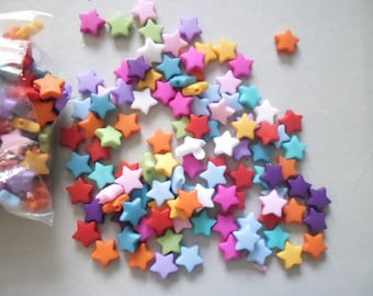 50 mixed beads star charm with five rays acrylic 9 x 9 mm