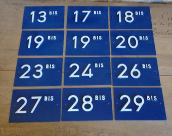 French house number signs, blue and white traditional number plaques