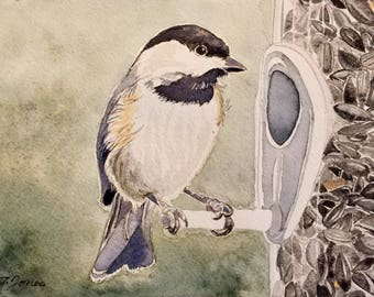 Chickadee Watercolor, Chickadee Painting, Chickadee at Bird Feeder, Wildlife Art, Bird Art, Nature Art