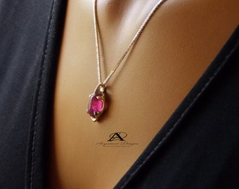 14k Gold Pink Tourmaline Pendant, Pink Gold Pendant, October Birthstone Necklace, Energy Jewelry, Gold Chain Necklace, Chakra, Gift For Her