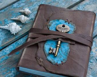 Key Travel Journal, Travel notebook, Handmade Journal, Brown Leather Journal,  Key Journal, Travel book