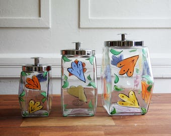 Vintage Fioreware canister set- fioreware & Jardinware glass canister set-FiorewareI pottery zanesville ohio-handpainted floral-canister set