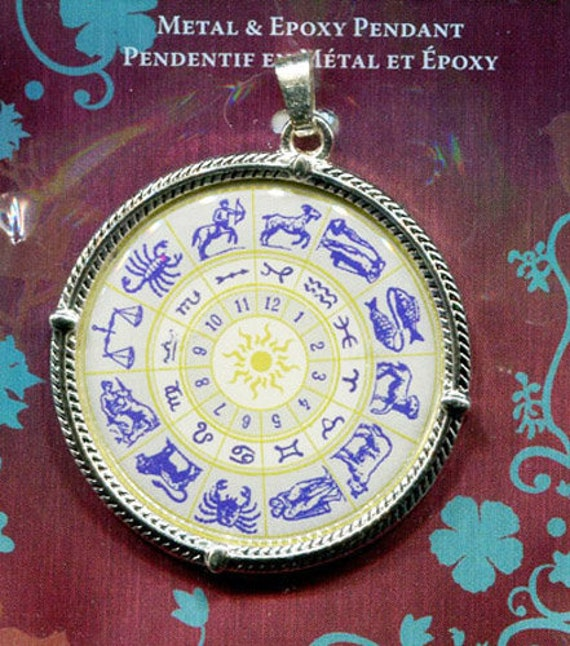 12 zodiac signs chart pendant epoxy / silver-finished steel pewter birthday sign
