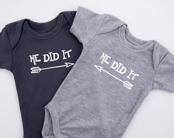 Twin Boys, HE DID IT Twin Boy Outfits, Set of 2 - Graphite Gray & Gray Bodysuits, Baby Shower Twin Boys, Twin Gifts, Newborn to 12-18 months