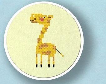 Cute Giraffe Cross Stitch Pattern, Animal Modern Simple Cute Counted Cross Stitch Pattern. PDF File, Nursery Decor, Instant Download