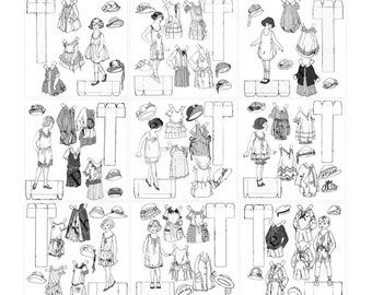 Printable Paper Dolls to Print & Color 9 Printable Coloring Pages for Kids Adults 1920s Vintage Art Deco Paper Doll Instant Digital Download