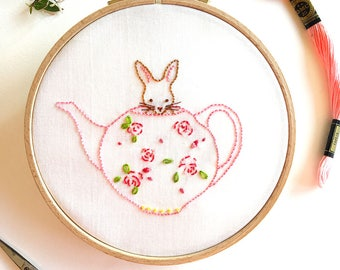 Bunny and Her Teapot - Hand Embroidery PDF Pattern