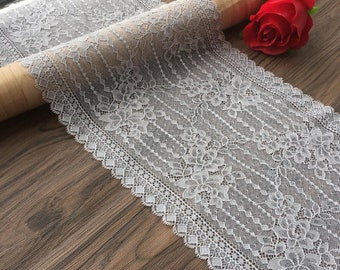 "Light Grey Lace Trim Stretch Lace Trim Chantilly Lace for Wedding, Lingerie, Garments, Costumes -(FZSG)-8.66""wide(22cm)X2,2 Yards"