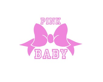Pink Bow Baby - Iron-On Vinyl Decal Transfer