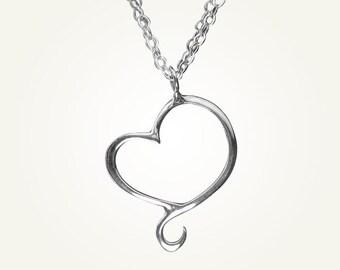 Mini Heart Necklace, Sterling Silver, Handcrafted, Swirl, Unique, Elegant, Love. APHRODITE MINI NECKLACE.