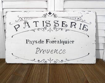 French Patisserie Wooden Sign Handmade Shabby Cottage Chic Distressed Home Kitchen Decor White Wall Art
