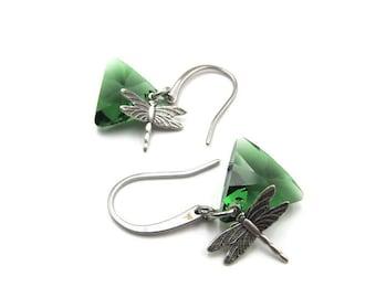 Silver Dragonfly Triangular Swarovski Crystal Element Earrings (ERSS102)