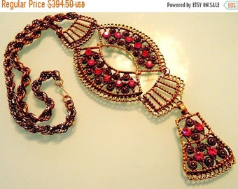 ON SALE Rare VENDOME Bib Runway Statement Necklace 1960's 1970's Hollywood Regency Couture Vintage Collectible Hard To Find Jewelry