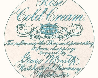 Antique Vintage Cold Cream Cosmetics Label Digital File Printable Print