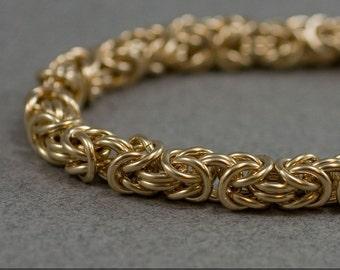 14k Gold Fill Bracelet Handmade Medium 16g Byzantine Chainmaille