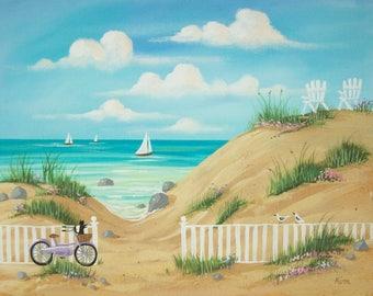 Folk Art Print~Just Beachy~Seascape Beach