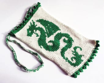 Tapestry Crochet Green Dragon Shoulder Bag - Free Shipping Domestic