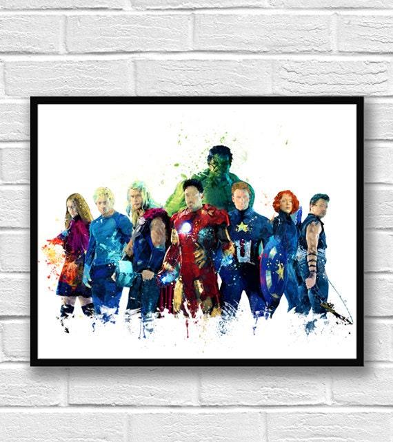 Avengers Watercolor: Avengers Watercolor Print Superhero Poster Hulk Iron Man