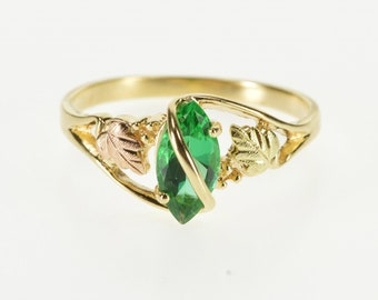 10K Marquise Sim. Emerald Black Hills Leaf Detail Ring Size 9.25 Yellow Gold