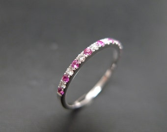 Pink Sapphire and Diamond Wedding Ring in 14K White Gold