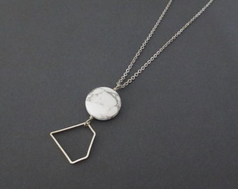 Geomatics MB - Long Silver Geometric Necklace; Marbled Grey Howlite Round Disc Gemstone and Metal Diamond Modernist Pendant by InfinEight