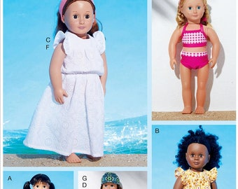 18 inch Doll Clothes Pattern, 18 in Doll Clothes Pattern,  McCall's Sewing Pattern 7612