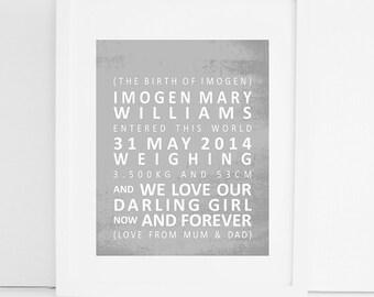 personalised wedding keepsake print DUCK EGG BLUE