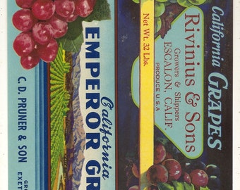 12 Old Vegetable / FRUIT Crate Labels