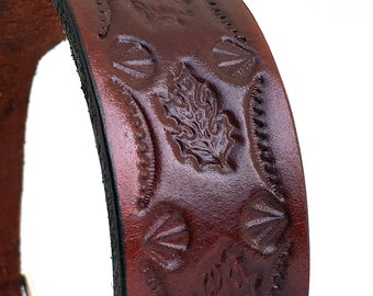 Glossy Tooled Leather Dog Collar with Unique Leaf Pattern, Size M to fit a 14-17 Neck, Medium Collar, EcoFriendly, Seattle Handmade, OOAK