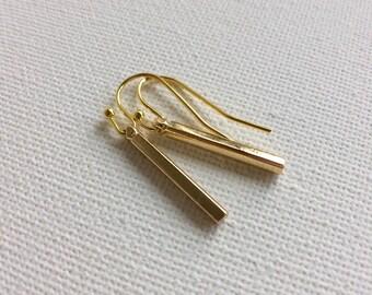 Tiny Gold Bar Earrings, Gold Stick Earrings, Minimalistic Bar Earrings, Modern Earrings,  Geometric Earrings, Simple Earrings, Bar Earrings