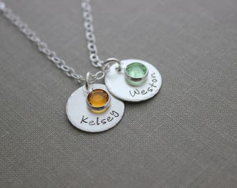 Sterling Silver multiple Name Disc necklace - Swarovski Crystal Birthstone, Hand Stamped, Mommy Jewelry, Customized Mother's Day gift