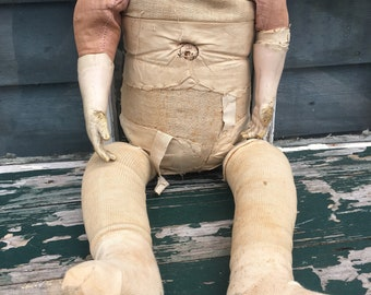 Antique Doll Body with Compostion Hands - Rag Doll filled with Sawdust - Creepy Doll - Assemblage Art Parts - Headless Haunted Doll