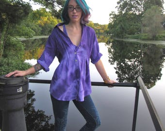Purple,Passion,Shibori Dyed,3/4 Sleeve,Cotton,Top,Ladies,Blouse