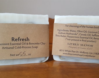 Refresh - Peppermint Essential Oil & Benonite Clay Soap
