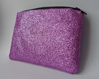 Handmade sparkly pink glitter coin purse, zip purse