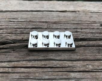 3D Brick Hard Enamel Pin in Silver