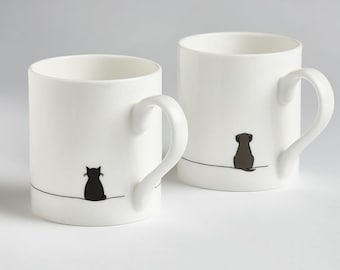 Cat and Dog Mug Set,  Set of Two Fine Bone China Mugs, Sitting Cat and Sitting Dog, Hand-decorated in the UK, Gift for Pet Lovers