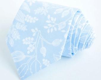 Necktie, Neckties, Mens Necktie, Neck Tie, Floral Neckties, Groomsmen Necktie, Ties, Weddings, Rifle Paper Co - Queen Ann In Pale Blue