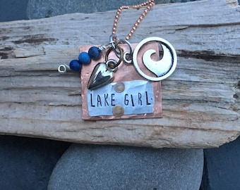Lake Girl Hand-Stamped Charm Necklace