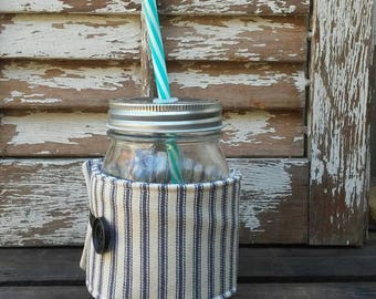 Mason Jar Cozy | Blue Ticking Fabric | Jar Cozy | Cozie | Jar Sleeve | Drink Cooler