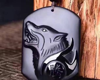 Beautiful Black Obsidian Wolf Pendant (Super Charged with Wolf Energy)