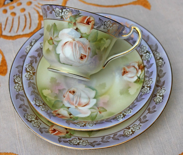 ?zoom & Antique Dixonian Cup Saucer and Dessert Plate. Hand Painted