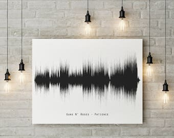 Sound Wave print,Guns N' Roses Patience-soundwave printable,Printable files,Wall art,Music sound wave,Instant Download,Sound wave art