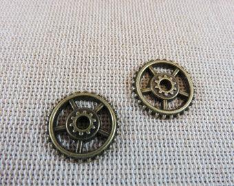 6pcs, Steampunk gears, COGS steampunk metal gears, bronze antique, set of 6 pendants, 18mm, steampunk jewelry gears