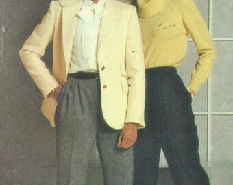80s Evan Picone Womens Below Hip Jacket & Pleated Front Pants Butterick Sewing Pattern 6147 Size 14 Bust 36 UnCut Menswear for Women