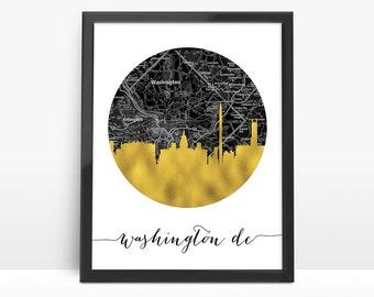 Washington DC Skyline, Faux Gold Foil Art, Washington DC Art,Black and White Map,Washington DC City map,NO825