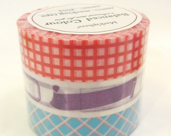 NEW Washi Tape, Set of 3 rolls -Vitamin Supplement, Mark'sphere RED - by MARK'S