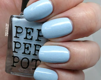Pastel Blue Creme Silver Shimmer Creme Indie Nail Polish Bath Beauty Blue Hawaii Pepper Pot Polish Gift Under 15 Gift For Her